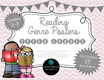 Genre Posters, Upper Grades, Pale Pink Chevron, Gray, Black & White Books