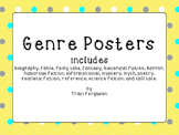 Genre Posters - Yellow with Gray and Aqua Dots