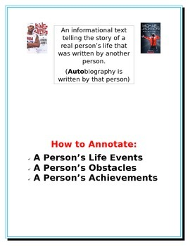 Annotation cards/posters by reading genre for informational and fiction texts