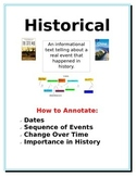 Annotation cards/posters by reading genre for informationa
