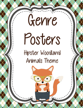 Genre Posters with Hipster Woodland Animas Theme