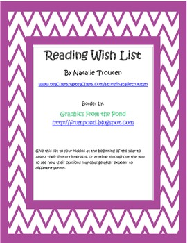 Genre Reading Wish List