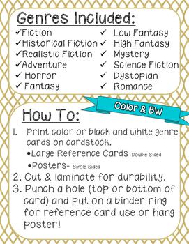 Genre Reference Poster Set: Fiction Literature (12 Types)