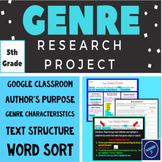 Genre Research Project + Genre Word Sort (Grade 5)