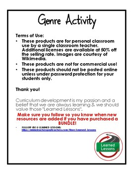Genre Scavenger Hunt Cube Activity with Writing Extensions (English)