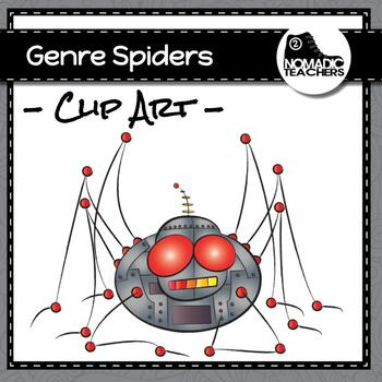 Genre Spiders - 10 clip art of spiders dressed as different genres