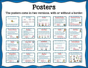Genre Activities: Genre Posters and Bookmarks for Genre Study Plus a Lot More!