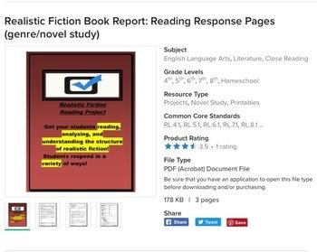 Fiction and Nonfiction Book Reports: Reading Response Pages (genre study bundle)