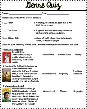 Genre Study Guide Activity Rubric And Quiz 3rd Grade Common Core