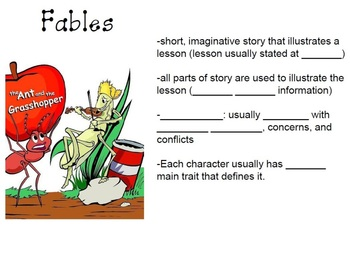 Genre Study- PowerPoint and Fill-in-the-Blank Student Worksheet