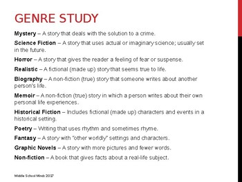 Genre Study - Reader's Notebook Page