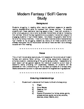 Genre Study - SciFi/Fantasy (adaptable to grades 3-8)