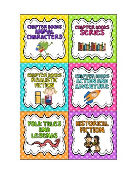 EDITABLE Genre-Themed Book Box Labels {Bright Polka Dots}