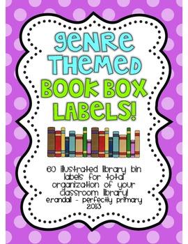 EDITABLE Genre-Themed Book Box Labels {Bright Polka Dots}