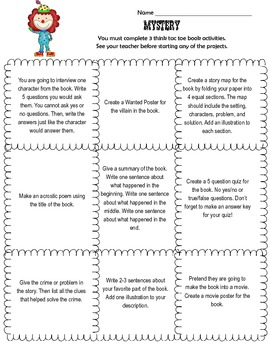 Genre Tic Tac Toe Choice Board Differentiated Book Projects Reports