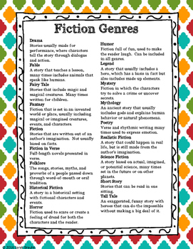 Genre Labels, Reference Sheets, and Activities