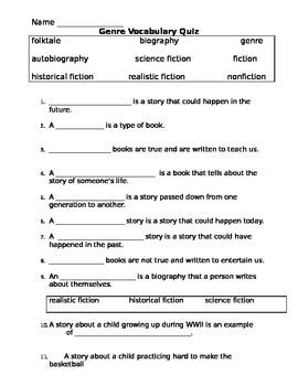 Genre Vocabulary Quiz