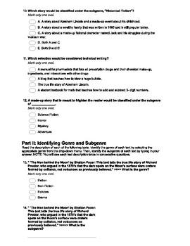 Genre and Subgenre Quiz