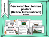 Genre and text features poster for fiction and non fiction - spanish resource