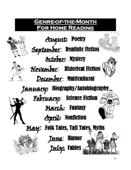 Genre-of-the-Month Reading Logs, Activities, & Posters (Black & White Edition)