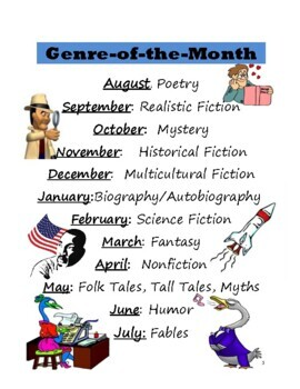 Genre-of-the-Month Reading Logs, Activities, & Posters by Jean Martin
