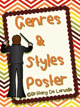 Genre/Styles of Music Posters - Color, black & white, PLUS editable versions