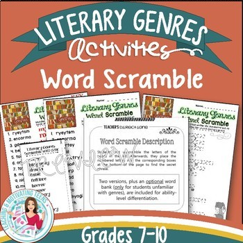 Genres Activities - Role Play & Word Scramble English Language Arts Editable