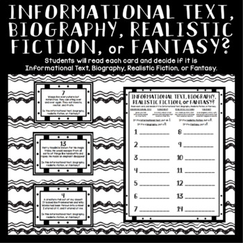 Genres: Informational Text, Biography, Realistic Fiction, or Fantasy