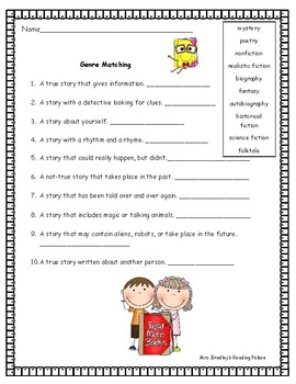 Genres Matching Worksheet Assessment Test Prep