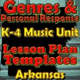 Genres/Response Lesson Plan Template Bundle - Arkansas Elementary Music