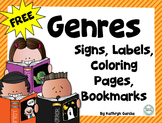 FREE Genres Signs Labels Coloring Book Bookmarks