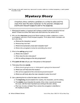 Genres: Write a Mystery Story