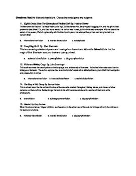 Genres in Literature quiz