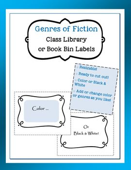 Genres of Fiction Class Library or Book Bin Labels