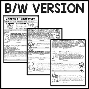 Genres of Literature- Drama- subgenres- Comedy, Tragedy, worksheet