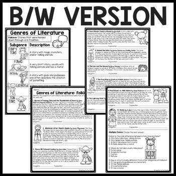 Genres of Literature- Folklore worksheet- subgenres- Fairy Tales, Legend,Fable