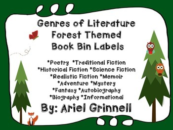 Genres of Literature Forest Themed Book Bin Labels