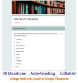 Genres of Literature Quiz for Google Classroom (Auto-Grading, Editable)