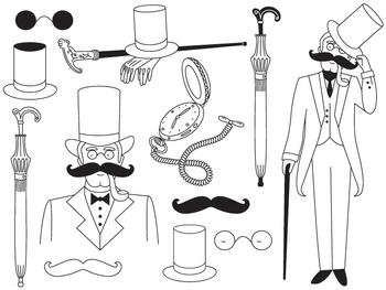 Gentleman Clipart - Digital Vector Gentleman, Walking Stick, Moustache Clip Art