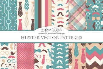 Gentleman - Hipster Digital Paper patterns Father's day mustache tie background