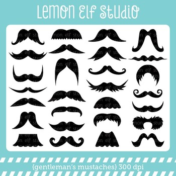 Gentleman's Mustaches-Digital Clipart (LES.CL36)
