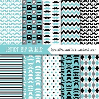 Gentleman's Mustaches-Digital Paper (LES.DP36)