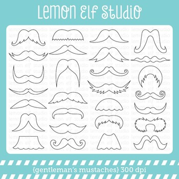 Gentleman's Mustaches-Digital Stamp (LES.DS36)