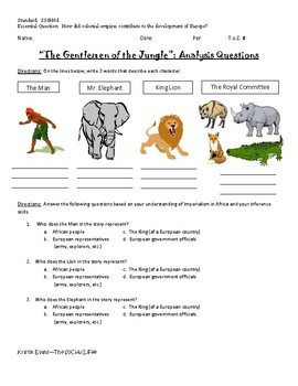Gentlemen in the Jungle: Imperialism Fable Analysis Handout