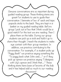 Genuine Conversation Thinking Stems for Guided Reading
