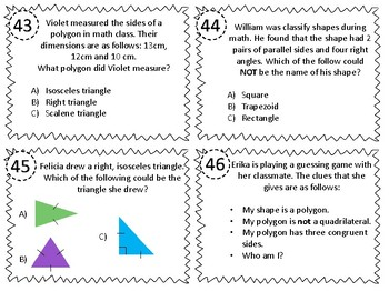Geometry Classify 2D Figures in Hierarchy Task Cards 5.5A 5.G.B.3 5.G.B.4