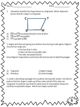 NEW Geometry Classify Shapes Based on Lines & Angles Activity Pack 4.6D 4.G.A.2