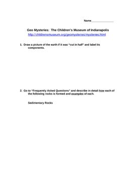 Geo-Mysteries Student Worksheet