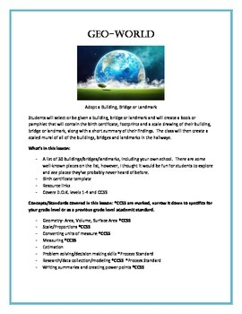 Geo-World- Geometry and Scale, A Common Core Approach to Math Grades 6-10