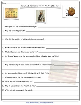 Literature Guide for George Washingtons Army and Me